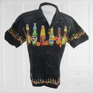 Palmwave Men Hawaiian camp shirt M Vintage beer
